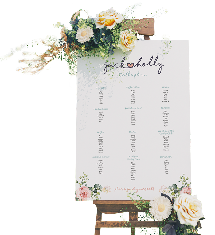 table plan printing on show card