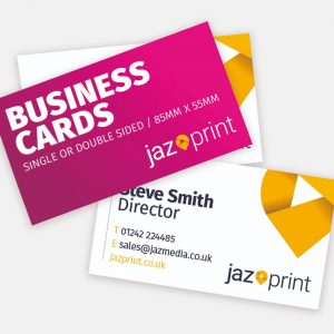 business cards with square or rounded corners. They can be gloss or matt laminated too