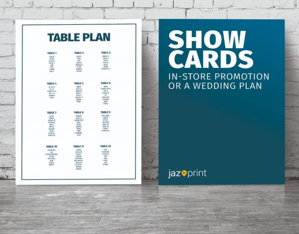 show card and table plan printing