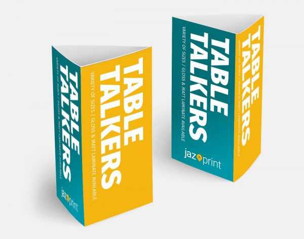 square and triangular table talker printing